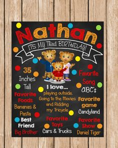 Daniel Tiger Chalkboard Birthday Sign