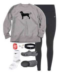 Track meet today!!! by keileeen ❤ liked on Polyvore featuring NIKE, Crocs, lululemon, Mikimoto and Fitbit