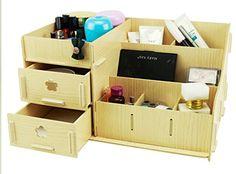 Menu Life Home Office Desk Storage Organiser Boxes Lady Jewellery Storage Boxes Jewelry and Cosmetic Storage Wood Makeup Organizer (Beige) Menu Life