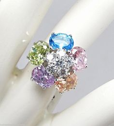Multi Color & White Cubic Zirconia CZ .925 Sterling Silver Flower Ring 7 NWT