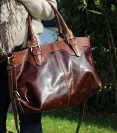 Large Brown Leather Buckle Tote Handbag - The Leather Store Leather Buckle, Leather Purses, Leather Handbags, Leather Bag, Brown Leather, Tote Purse, Tote Handbags, Purses And Handbags, Leather Store