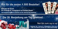 Ab dem 28.11. gehen 1.500 Autogrammkarten von Ricarda M. in die Pakete an Euch! in der Woche vom 28.11. – 04.12. gewinnt jeder 28. Besteller einen Preis. Zu gewinnen sind 7 Schmuck- und Beautysets im Wert von je 100,- Euro. www.ricardam.com