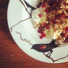 Greek yogurt, Kashi cereal, chopped almonds, pomegranate seeds and honey. #breakfast