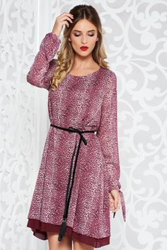 StarShinerS burgundy dress daily from veil fabric flared with inside lining accessorized with tied waistband, accessorized with tied waistband, inside lining, easy cut, long sleeves, nonelastic fabric, transparent chiffon fabric, veil, asymmetrical cut