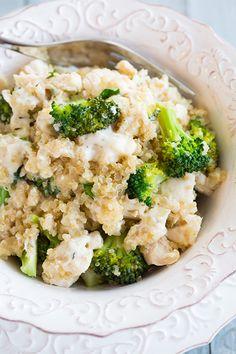 Creamy Broccoli and Chicken Quinoa Casserole - loaded with quinoa, broccoli and chicken and a tangy and creamy parmesan sauce.