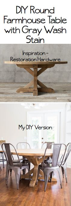 Maison do it yourself divas: DIY Round Restoration Hardware Table and Gray Wash Stain Furniture Projects, Table Furniture, Home Projects, Vintage Furniture, Office Furniture, Modern Furniture, Furniture Design, Round Farmhouse Table, Round Kitchen Tables