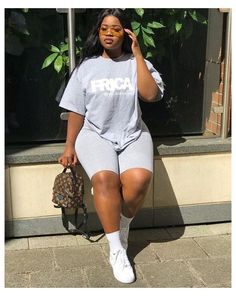 Simple Summer Outfits, Girls Summer Outfits, Chill Outfits, Outfits For Teens, Plus Size Outfits, Swag Outfits, Thick Girls Outfits, Curvy Girl Outfits, Short Outfits