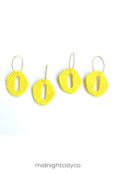 Yellow textured polymer clay earrings. Cut out organic oval shaped dangle earrings with gold earring hoops. Fun, colorful dangle earrings make the perfect accessory for a spring or summer outfit. Give as a unique birthday gift for female friend, daughter, or best friend. Makes a great graduation gift! Shop these trendy handmade earrings for women in my etsy shop! Unique Gifts For Sister, Birthday Gifts For Sister, Unique Birthday Gifts, Sister Gifts, Yellow Earrings, Women's Earrings, Gifts For Female Friends, Earrings Handmade, Handmade Jewelry