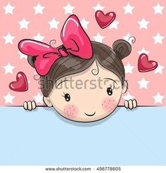 Greeting card cute Cartoon Girl is holding a placard on a stars background