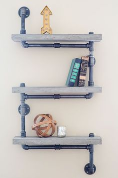 How to: Make an Industrial and Practical Pipe and Concrete Shelf Unit Office DIY Decor, Office Decor, Office Ideas #DIY