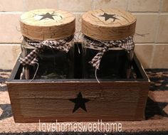 Primitive Crackle Tan & Black Star Wood Crate & Glass Jars ~ Country Decor #NaivePrimitive