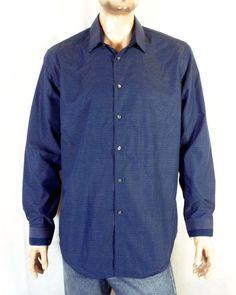 d412b414f NWOT Calvin Klein Blue White Dot Steel Cotton Dress Shirt slim fit XL 17.5  34/