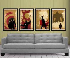 Retro Captain America, Hulk , Iron Man and Thor Superheroes Poster Set $50.00   http://etsy.me/OOoAvs
