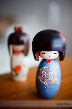 I inherited a collection of kokeshi dolls from my Grandmother, Thelma, who passed away last year. They will be the focal point of the baby's room!
