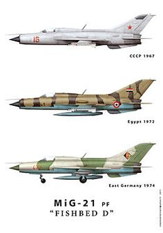 "MiG-21PF(Fishbed D). {P = Perekhvatchik (""Interceptor""); F = Forsirovannyy (""Uprated"")}. Production version of the all-weather interceptor. This was followed by ""PFL"" for the Vietnamese; L=lokator, for the different sensor suite."