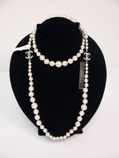 Chanel Double CC Logo Pearl Necklace Silver