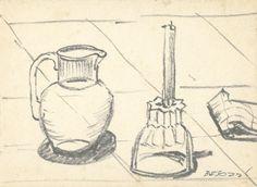 E. Besozzi pitt. s.d. (1951) Natura morta pennarello su cartone cm. 23,6x17 arc.516