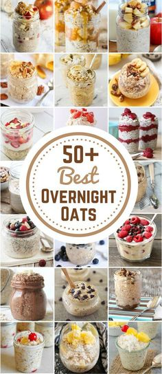 Healthy Meals 50 Best Overnight Oat Recipes - Are you always in a rush in the morning and end up stopping at a fast food drive thru for breakfast? Save money and time by starting your morning out right with these healthy overnight oats. Mason Jar Meals, Meals In A Jar, Healthy Breakfast Recipes, Healthy Snacks, Fast Breakfast Ideas, Oatmeal Breakfast Recipes, Best Healthy Recipes, Diet Recipes, Healthy Fridge