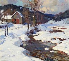 Aldro Hibbard (1886-1972). February, Vermont (Winhall River, Rawsonville Vermont). 30.25 x 34 in (76.8 x 86.4cm). Oil on canvas.