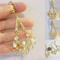"CLIP ON 2.5"" Faux PEARL Rhinestone Dangle Non-Pierced Fashion Gold Tone Earrings #Unbranded #DropDangle"