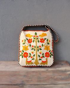 Vintage embroidery and Leather Bag - Birds, Butterflies, Woodland, Leaves, Nature
