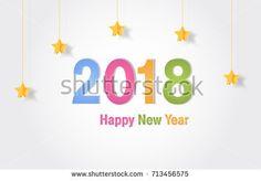 Happy new year 2018. Vector Design