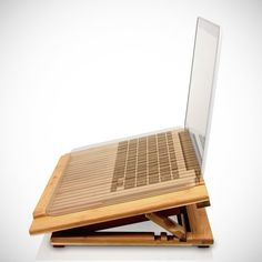 Macally Bamboo Laptop Stand w/ Fan - $40