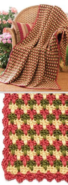 Garden Plaid Throw, by Margaret Wilson; free pattern on FreeCrochet dot com. Similar to larksfoot stitch but makes a nice closed fabric. #crochet #afghan #blanket