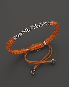 Lagos Sterling Silver Caviar™ Bead Macramé Bracelet in Orange   Bloomingdale's
