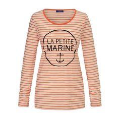 geringeltes Langarmshirt mit maritimem Print