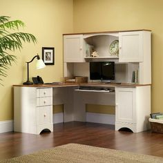 Amazon.com: Sauder Harbor View Hutch, Antiqued White: Kitchen & Dining