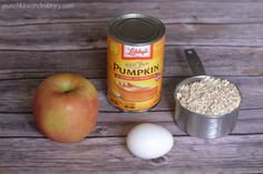 Ingredients for pumpkin and apple dog treats