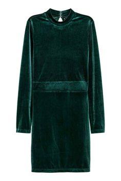 Fitted velvet dress - Dark green - Ladies | H&M GB 1