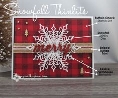 christmas 2018 Limited time offer to get the Snowfall Thinlits as part of Stampin Up! Pair the dies with the very popular Buffalo Check stamp set for a rustic Christmas card. Fun Christmas, Christmas Cards 2017, Christmas Paper Crafts, Homemade Christmas Cards, Merry Christmas Card, Stampin Up Christmas, Christmas Snowflakes, Xmas Cards, Homemade Cards