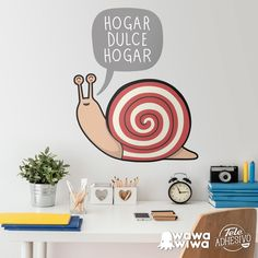 Wawawiwa Design wall decals & wall stickers for kids Kids Wall Decals, Wall Stickers, Wall Design, Home Decor, Home, Wall Decal, Snails, Adhesive, Sweet Home