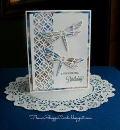 A Very Special Birthday Handmade Card with Dragonflies. Beautiful! Blue and brown showing through the dragonflies and border. Lovely! CK048