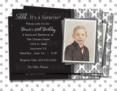 40th 50th 60th 70th 80th Men's Birthday Invitation surprise party any age will work
