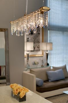 Bryce Collection Linear Chandelier - Industrial Chic Chandelier Lighting - Contemporary Linear Crystal Chandelier