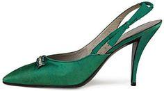 Escarpins - Satin Vert et Strass - Roger Vivier - Dior - Années 50 #rogervivieroutfit #rogervivierheels #rogerviviershoes