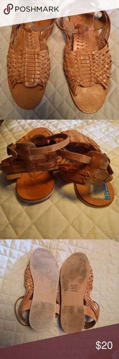 Rebels natural Huaraches sz 9.5 Natural color Huaraches...never worn outside. Feel more like a 9. rebels Shoes Sandals