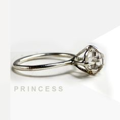 """RING """"Princess"""" with Diamond in Sterling Silver. Handmade. Minimalistic, Modern. Promise or Engagement Ring.. $127.00, via Etsy."""