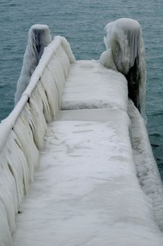 Iced over dock on Lac Leman (Lake Geneva) after a winter ice storm