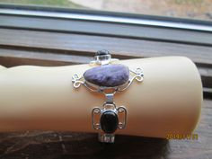 Vintage Marvelous Russian Charoite & Purple Onyx 925 Sterling Silver Bracelet 7' to 8' Adjustable, Wt. 23.6 Grams by TamisVintageShop on Etsy