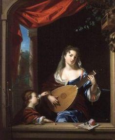 Philip VAN DYCK femme élégante jouant du luth