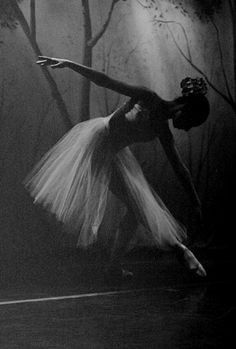 Lovely photo - almost a silhouette - of a ballerina taken in black and white
