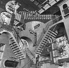 MAGIC REALISM: fantastical places, it's almost too obivous to say - Escher's 1953 image 'Relativity'