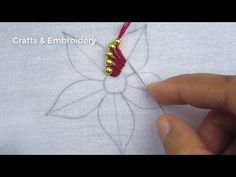 Hand Embroidery, Easy Beautiful Flower Embroidery with Beads Hand Embroidery Patterns Flowers, Hand Embroidery Videos, Embroidery Flowers Pattern, Flower Embroidery Designs, Embroidery Works, Hand Embroidery Stitches, Beaded Embroidery, Knitting Yarn Diy, Tambour Beading