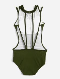 Monokini sexy con aberturas laterales - verde militar-Spanish SheIn(Sheinside) Sitio Móvil
