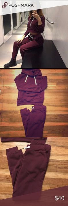 Matching Sweat Set Matching Burgundy Hoodie With Sweat Pants | Very POPULAR | Size XL Bottoms But Fit Like Large | Size L Hoodie Pants Track Pants & Joggers