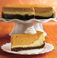 Recipe For Layered Pumpkin Cheesecake - Try a double flavor bonus cheesecake with a classic vanilla layer and a spiced up pumpkin layer.